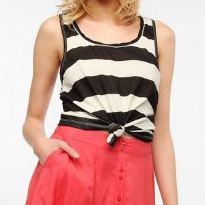 Black and White Striped racerback tank top