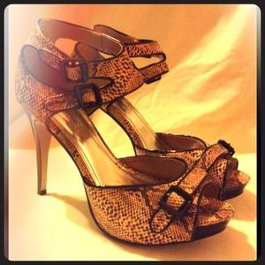 Snakeskin open toe high heels