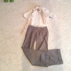 Brown Pinstripe Pants