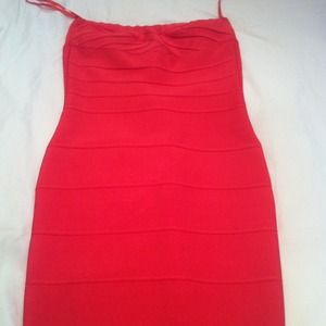 Herve leger authentic coral dress size xs