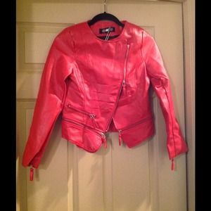 Oasap Jackets & Blazers - 💥SALE NWT Red leather style jacket with zipper
