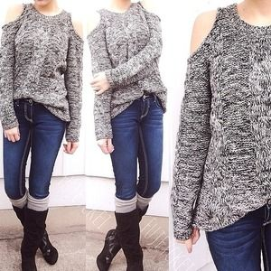 Black and white knit off the shoulder sweater