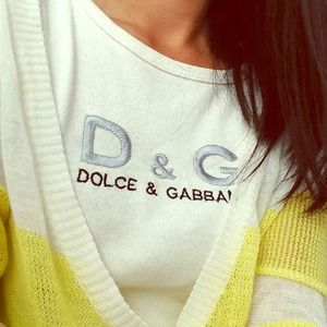 Authentic D&G Dolce & Gabbana White Logo Crop Tee