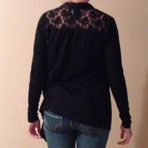 Black cardigan with lace detail on the back