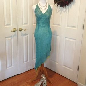 Turquoise beaded formal silk dress
