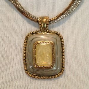 Square pendant on beaded chain