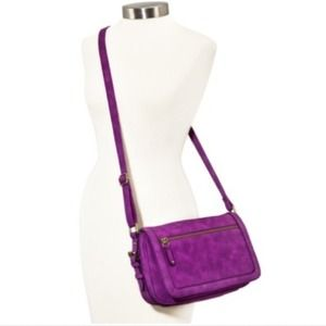 New Purple Suede Crossbody Bag