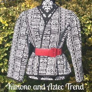 Kimono style jacket with Aztec print