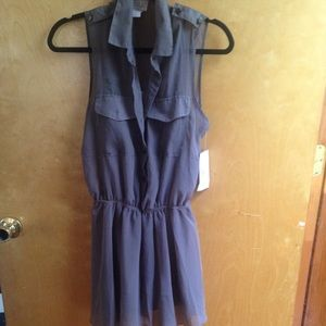 Dresses & Skirts - New Gray see through dress with lining