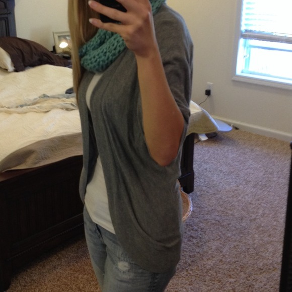 52% off Sweaters - Grey half-sleeve open front cardigan from ...