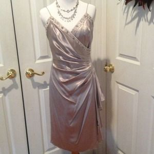 Silver 100% silk dress with beading