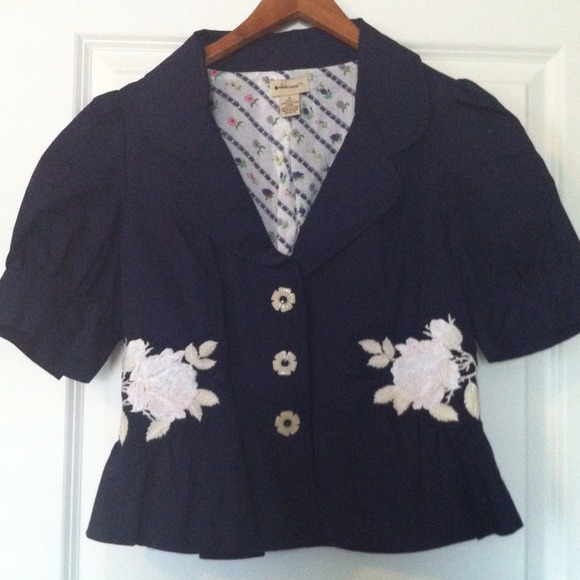 Anthropologie Jackets & Blazers - Navy Embroidered Anthropologie Jacket