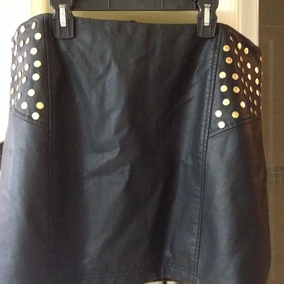 bebe 2b bebe leather black skirt with gold studs from