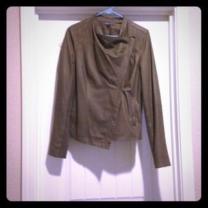 Vince Draped Paper Leather Jacket. Sz Large