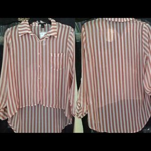 Forever 21 Tops - Forever 21 High Low Striped Blouse NWT