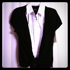 KERSH Tops - KERSH Cardigan w/Built in Sleeveless Button Front