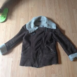 Brown Shearling Moto Coat