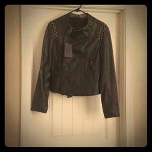 💲REDUCED!! Zara Leather Draped Jacket w/ Crystals