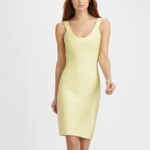 Classic Herve Leger tank dress in lemon ice