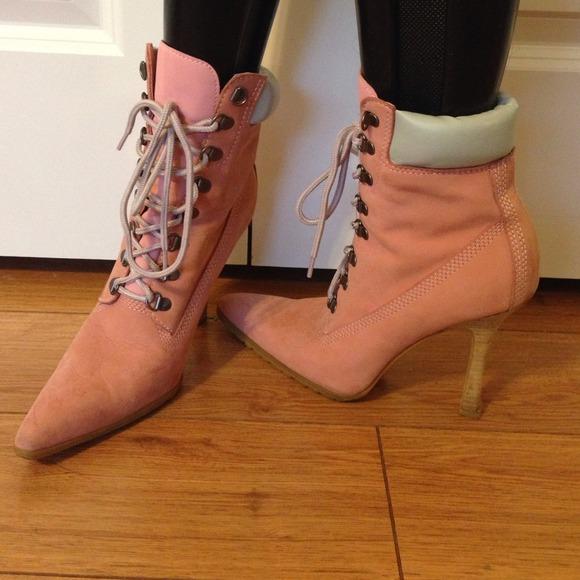 pink timberland heels