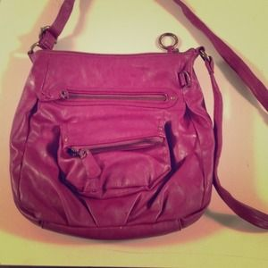 Magenta faux leather cross body bag