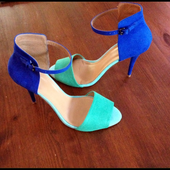 Color Block Ankle Strap Heels