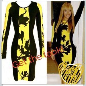 Super cute black & yellow body con BodyCon dress