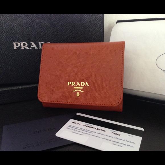 0b1574c23557d6 Prada Bags | Soldauthentic Papaya Tri Fold Wallet | Poshmark