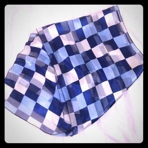 Accessories - Blue and white sheer checkered scarf