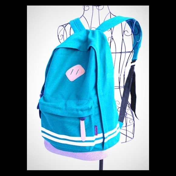 da0c8aa1f2e ❤️Cute Sky Blue Canvas Backpack