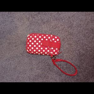 Red and white polka dot wristlet from Thirty One!