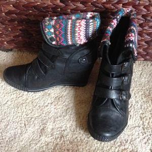Boots - Bucco Wedge Bootie