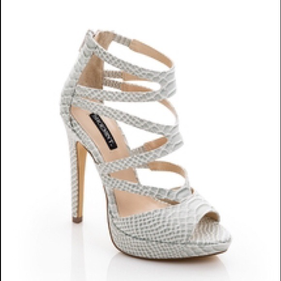 44% off Shoemint Shoes - NWT SEXY white snakeskin embossed strappy ...