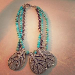 Turquoise, gold, and rhinestone necklace