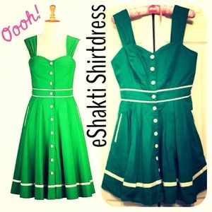 eShakti Emerald Dress Poplin shirt buttons