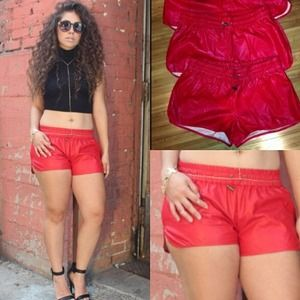 Red faux Leather Draw String Shorts