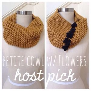 gnomesjoyclub Accessories - Golden Yellow Knit Cowl Scarf With Black Flowers