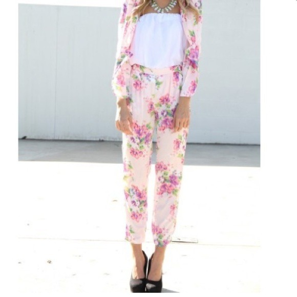 Pants - Pink floral sabo skirt pants 4
