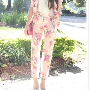 Pants - Pink floral sabo skirt pants 1