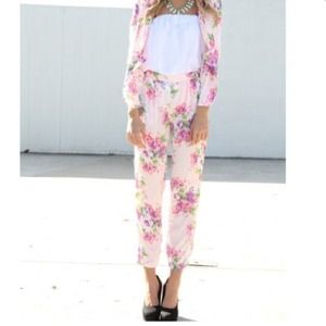 Pants - Pink floral sabo skirt pants
