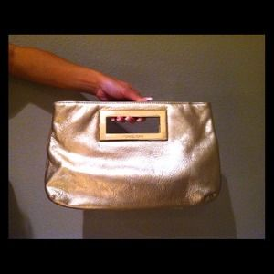 Michael Kors Berkley Leather Clutch Gold Metallic