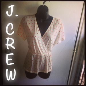 J. Crew off white top w/orange Polk-a-dots