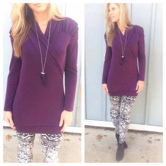 44% off Sweaters - New plum purple wrap front knit sweater tunic ...