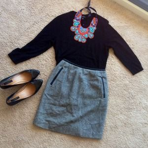 Black and grey striped wool skirt w/ leather trim
