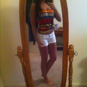 Multicolored Striped Cross Back Tank Top
