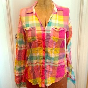 Abercrombie and Fitch bright color flannel Size L