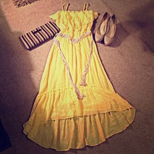 A. BYER Dresses & Skirts - 🎉🎈HP 12/22🎉🎈 Yellow Maxi Dress w/Beaded Tie!!