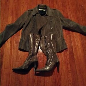 Express Leather Coat sz 14 and boots 38.5