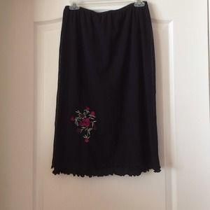 Black calf length with flower detail skirt