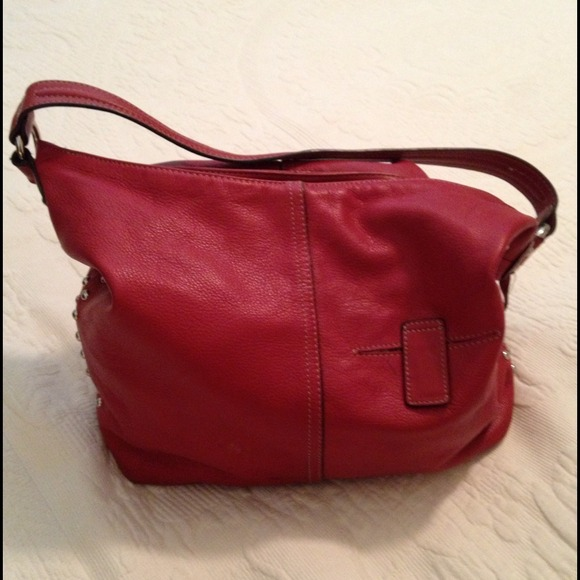 81% off Tignanello Handbags - Red Leather Tignanello Purse from ...